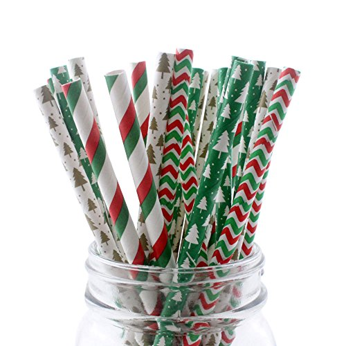 Ipalmay Christmas Drinking Straw, Biodegradable Paper...