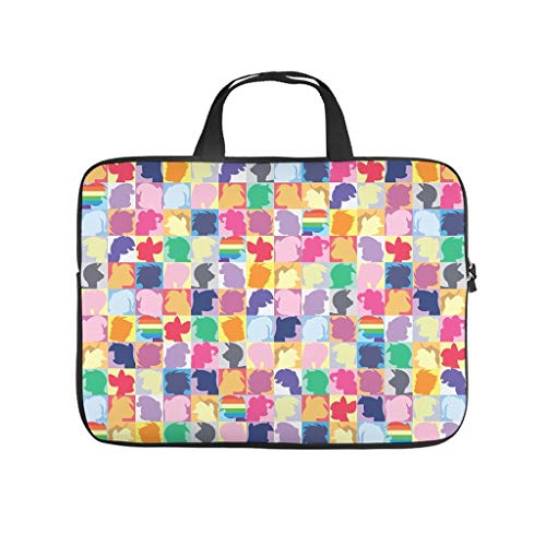 Colorful Horse Laptop Computer and Tablet Carrying Case Bag Waterproof Portable Zipper Computer Handbag for Business&Travel Multi-Functional for Men and Women White 17inch