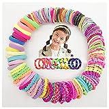 YUECI 100 Stück Haargummis Mädchen Bunt Elastisch Haargummis Pferdeschwanz Haarband Set haarschmuck mädchen mini haargummis für Kinder, Babys, Mädchen & Frauen