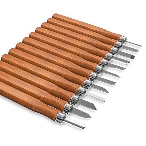 Kincrea Outils de gravure ciseaux à bois en acier carbone SK2 12pcs avec le fourreau de protection, professionnel craft outils de sculpture pour ciseleur, amateur de gravure et sculpteur.