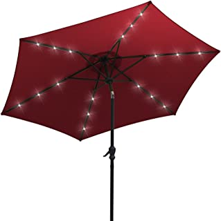 AOODA 10 ft LED Lighted Patio Umbrella LED Solar Power Table Market Umbrella, with Tilt Adjustment and Crank Lift System, Perfect for Outdoors, Patio, or any Parties (Wine Red)