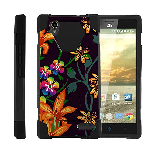 TurtleArmor | Compatible with ZTE Warp Elite Case | N9518 [Dynamic Shell] Hybrid Dual Layer Hard Shell Cover Kickstand Silicone Case - Flower 4