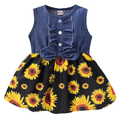 Borlai Mädchen Kleid Mode Baby Ärmelloses Blumenkleid Lässiges Jeanskleid für 1-4 Jahre
