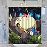 Trelemek Totoro Anime My Neighbor Totoro Duschvorhang, 183 x 183 cm (B x L), wasserdichter Badvorhang mit 12 Kunststoffhaken, waschbarer Badvorhang