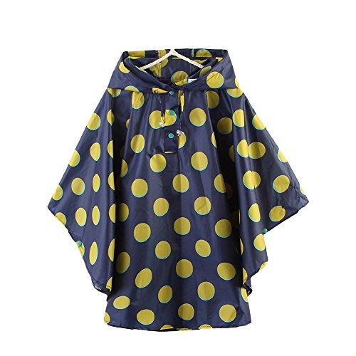 LOSORN ZPY Kinder Mädchen Punkt Regenjacke Regencape Baby Wasserdicht Regenmantel mit Kapuze (XL (130-145cm), Blau)