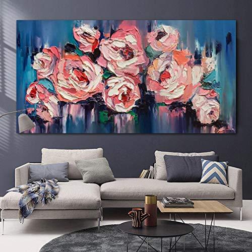 wZUN Cuadros Abstractos de Flores de Colores en Lienzo para el hogar, murales, Carteles e Impresiones de decoración de Sala de Estar 50x100cm