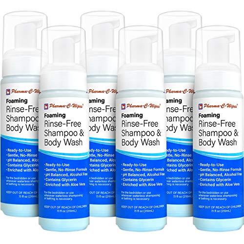 Foaming Rinse Free Shampoo & Body Wash; Case of 6 Bottles = Best Value; Hospital Tested, Gentle No-Rinse Shampoo Formula Leaves Hair Fresh & Clean