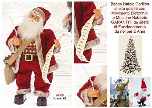 Babbo Natale Gigante Altezza Cm.60 Carillon Che SCRIVE I Doni Con MUSICHE Melodie Natalizie E Movimento 61309