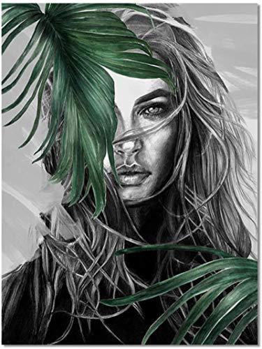 Crazystore Impresión en Lienzo 50x70 cm sin Marco Cuadros Abstractos en Lienzo Mujer Moderna Retrato Decoración Pintura Cartel Arte de la Pared Impresiones en Lienzo Decoración para el hogar