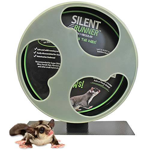 Silent Runner Glow Wheel - 12' Regular - Silent, Fast, Durable Exercise Wheel - Sugar Gliders, Hamsters, Female Rats, Mice & Small Pets