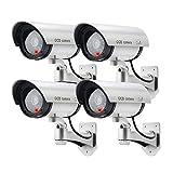 ERWEY 4er Set Unechte Überwachungskamera Falsch Künstlich CCTV Sicherheitsüberwachungskamera Outdoor mit Roter LED
