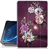 Hocase Galaxy Tab A 10.1 (SM-T580) Case 2016 Release, PU Leather Case w/Flower Design, Tri-Fold Stand Feature, Hard Back Cover for Galaxy Tab A 10.1' 2016 (NO S Pen Version) - Burgundy Flowers