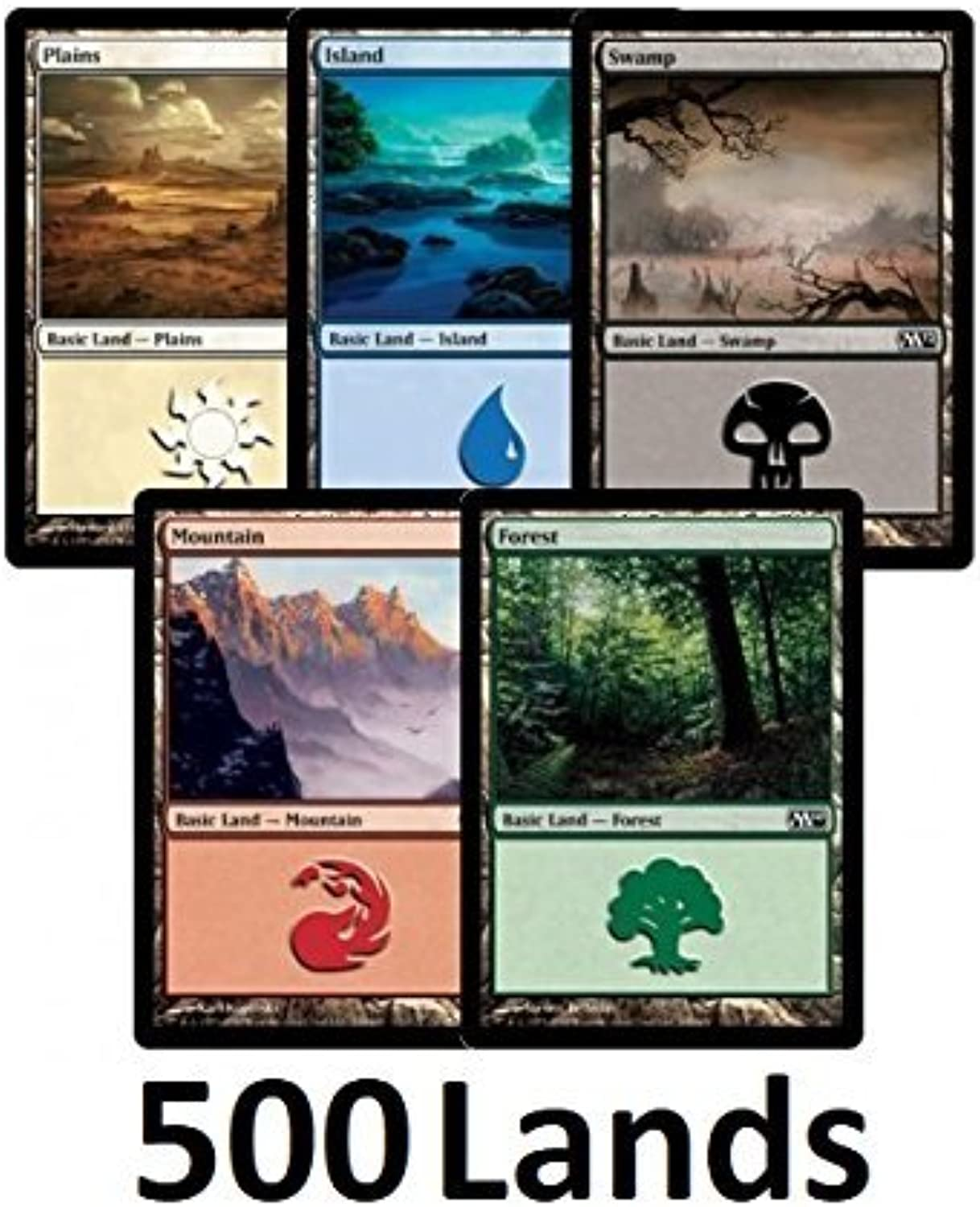 500 Magic  The Gathering Basic Les - 100 of Each Le Type (Plains, Isles, Swamps, Mountains, Forests) by Magic  the Gathering