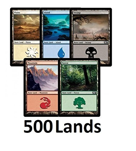 Magic The Gathering 500 Basic Lands - 100 of Each Land Type (Plains, Islands, Swamps, Mountains, Forests)