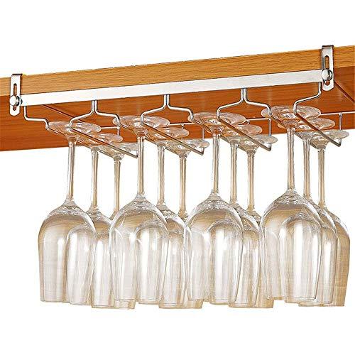 KANJJ-YU Soporte para copas de vino de acero inoxidable, para almacenamiento de 4 filas, para armario, hasta 16 copas de vino, color plateado, tamaño: 24 cm, 4 filas, vino