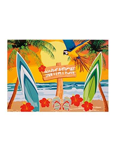 6 Cartons d'invitations Beach party 10 X 15 cm - taille - Taille Unique - 306009