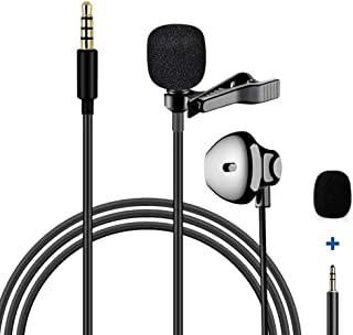 lewinner Lavalier Microphone with Earphone One-Piece Design Mic.Compatible with iPhone&Android Smartphone.Perfect for Reco...