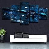 5 piezas de lienzo Cuadro compuesto por 5 lienzos impresos en HD, utilizados para decoración del hogar y carteles Global Offensive Weapon CS Anime con marco 100x55cm