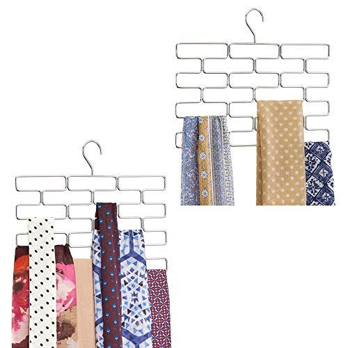mDesign 2er-Set Schalbügel – platzsparender Schalhalter für den Kleiderschrank – hängender Schalorganizer mit 18 Fächern – silberfarben
