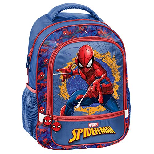 51f8I+Cfl9L - Spiderman - Mochila Infantil (43 x 31 x 13 cm), diseño de Spiderman, Color Azul y Rojo