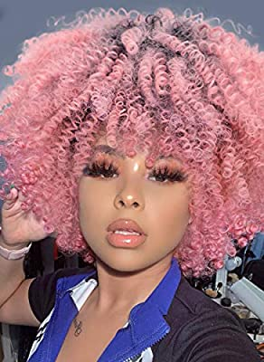 Afro Wigs For Black Women Short Kinky Curly Full Wigs Synthetic Heat Resistant Wigs For African Women