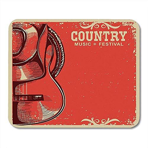 Gaming Mat Rood Festival Western Country Music Amerikaanse Cowboy Hoed en Gitaar op Vintage Ranch Mouse pad 25X30cm