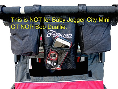 Double Stroller Stroller Organizer for Booyah Child and Large Pet Stroller.