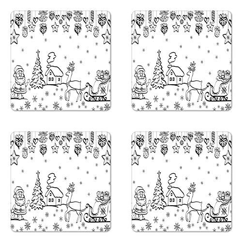 Juego de 4 posavasos de Navidad con trineo de Papá Noel Rudolph Rudolph reno, imagen de campanas, posavasos cuadrados de cerámica para bebidas con base de corcho, blanco y negro, regalos de Navidad