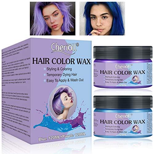 Color Haar Wax - Haarfarbe Wachs,Temporäre Haarfarbe Farbstoff Natürliche Frisur Wachs Haar Styling Wachs für Party, Cosplay, Weihnachten, Blau 120ML + Lila 120ML