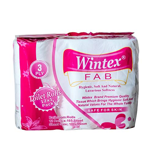 Wintex FAB 3 Ply Toilet Bathroom Paper Rolls