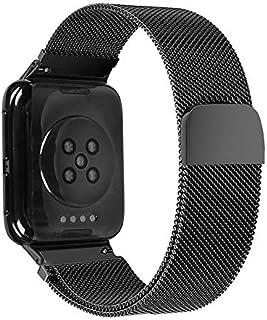Husgrtyer YHM for Oppo Montre 46MM Montre Intelligente milanaise en Acier Inoxydable Bracelet en métal (Noir) (Color : Black)