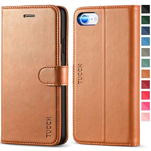 TUCCH iPhone SE 2020 Hülle, iPhone 8 Handyhülle [Verdicktes TPU] [Kartenfächer] [Standfunktion] [Magnet] [Lifetime Garantie], Stoßfeste Schutzhülle für iPhone SE2/8/7 (4,7 Zoll) Braun