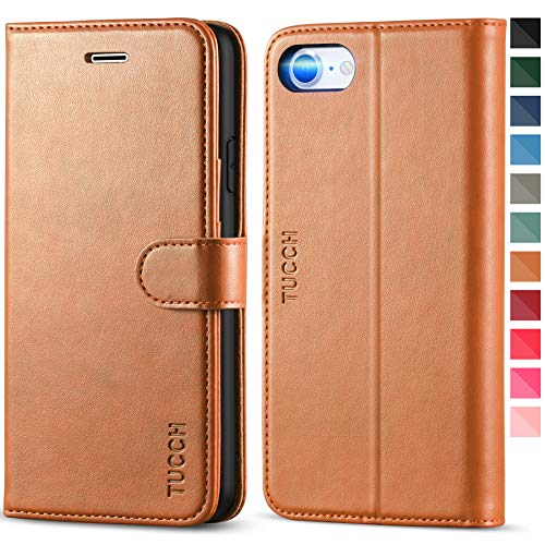 TUCCH iPhone SE 2020 Case, iPhone 8 Wallet Case, iPhone 7 Case, PU Leather Folio Stand Card Slot Magnetic Closure Flip Cover [TPU Shockproof Interior Case] Compatible with iPhone SE2/8/7, Light Brown