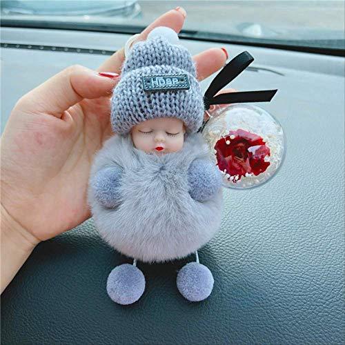 Nette Puppe Puppe Plüsch Auto Schlüsselanhänger Weiblich Geschenk Schlüsselanhänger Tasche AnhängerDIYEwige Blume Grau+Blume