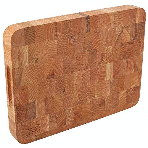 Creative Home Eiken Snijplank | 40 x 30 x 4 cm | Natuurlijk Hout | Groot Professioneel Slagersblok | Omkeerbaar