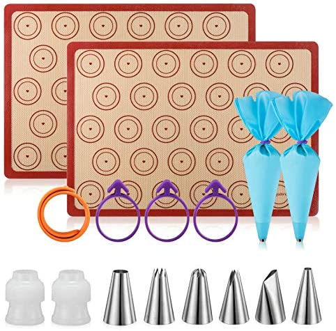 Silicone Macaron Baking Mat Kit - (30 in 1) Macaroon Baking Mat Heart Set,2 Half Sheet Macaron Silicone Mat,1 Egg Separator,1 Pastry Brush,1 Spatula,6 Frosting Tips,12 Piping Bags