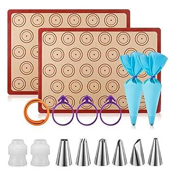 Silicone Baking Mat Macaron Mat Kit 16pcs set  Macaroon Baking Mat Set of 2 Half Sheet Macaron Silicone Mat Nonstick Macaron Mat Sheet,6 Piping Tip,2 Piping Bag with 3 Bag Tie,2 coupler  11.6 x16.5