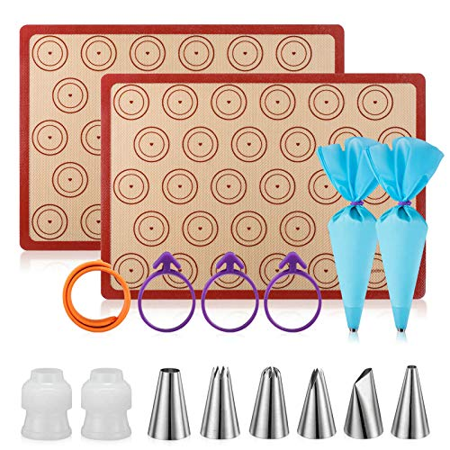 Silicone Baking Mat Macaron Mat Kit(16pcs set) Macaroon Baking Mat Set of 2 Half Sheet Macaron Silicone Mat Nonstick Macaron Mat Sheet,6 Piping Tip,2 Piping Bag with 3 Bag Tie,2 coupler (11.6'x16.5')