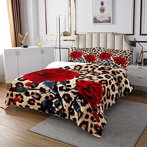 Homewish Rose Blume Gesteppte Coverlet 240×260,Leopard Print Coverlet Set für Kinder Mädchen Frauen,rote Floral Blütenblatt Zweige Bettdecke Camouflage Tier Haut Set mit 2 Kissen-Fälle