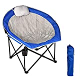Folding Camping Chair, Heavy Duty Folding Chair with Headrest,...