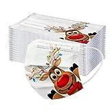 LineCill 50-stück Weihnachten mundschutz,Elch Drucken mundschutz einweg,Einweg Mund-nasenschutz, mundschutz Erwachsene,Atmungsaktive und komfortable elastische Ohrmuscheln Gesichtsschutz (TypeB, 50)