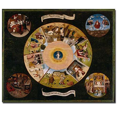 MhY Cuadro de obra de arte de siete pecados mortales de Hieronymus Bosch, impresión previa, 30x35cm