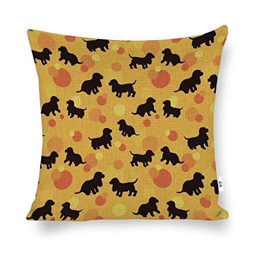 Funda de cojín con dibujos animados negros de la marca Unknow, color negro, amarillo, naranja, para decoración del hogar, para hombres, mujeres, niños, niñas, sala de estar, dormitorio, sofá, silla, 45 x 45 cm
