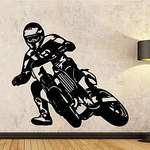 Pegatinas de vinilo para pared pegatinas creativas hermosa motocicleta autoadhesiva papel tapiz artístico pared de la habitación de los niños 57x43 cm