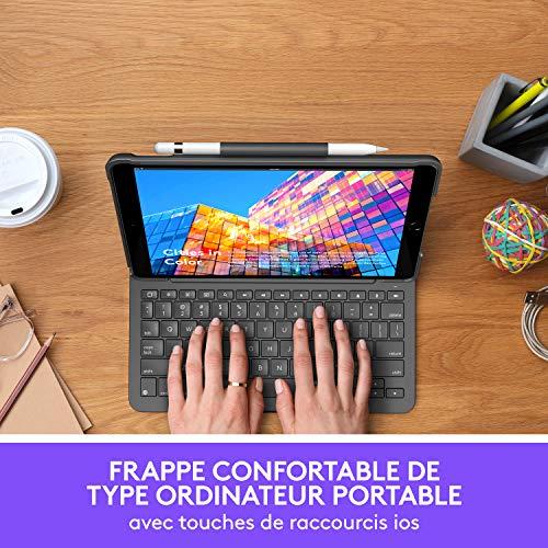 Logitech iPad Air Tastatur Schutzhülle (3. Generation)   Slim Folio mit integrierter kabelloser Tastatur (Graphit), französische Tastatur