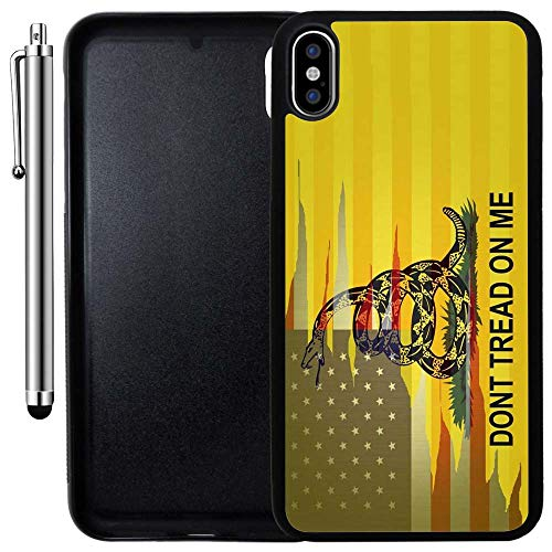 Custom Case Compatible with iPhone Xs MAX (6.5 inch) (Dont Tread On Me Best Flag) Edge-to-Edge Rubber Black Cover Ultra Slim | Lightweight | Includes Stylus Pen by Innosub