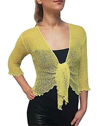 Style Wise Fashion - Coprispalle bolero lavorato a maglia, da donna, con maniche a 3/4 Lemon Taglia unica