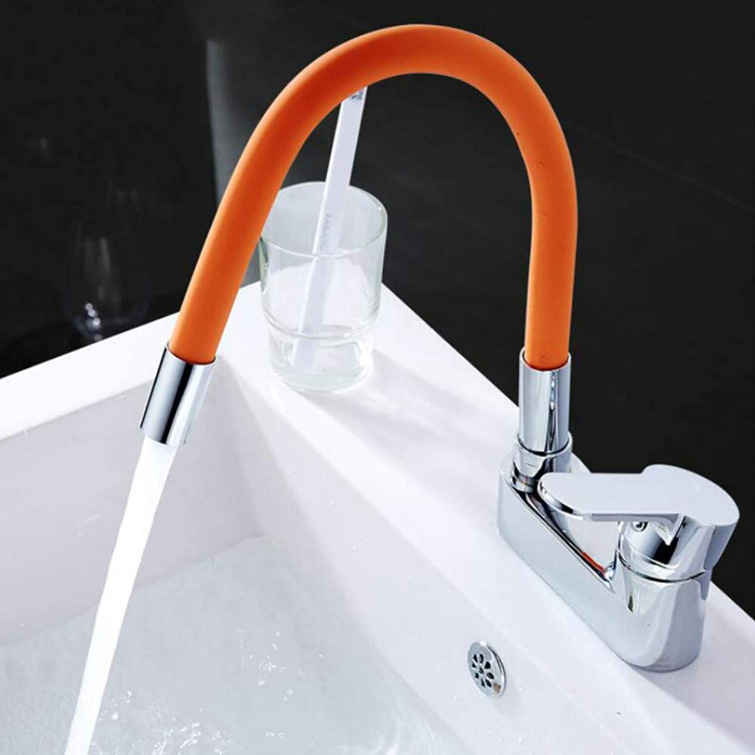 Ayhuir Silica Gel Nose Any Direction redating Bathroom Faucet Cold and Hot Water Mixer Single Handle Double Holes Tap