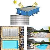 6.6x13ft Rectangular Piscina Cubrir,Mantas solares Cubierta solar Manta calefactora, lona impermeable para piscinas elevadas - Plateado