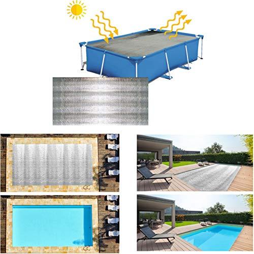 6,6 x 13 Fuß rechteckige Poolabdeckung Solarabdeckung Heizdecke, wasserdichte Plane für oberirdisches Schwimmbad - Silber